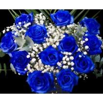 Valentine's Day LS Dozen Blue Roses Hand-tied