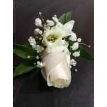 Boutonnière - Single Cream Rose w/ White Accents