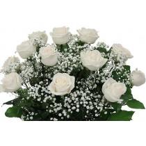 Valentine's Day LS Dozen White Roses Hand-tied