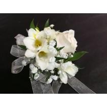 Wrist Corsage - Cream Rose w/ White Accents