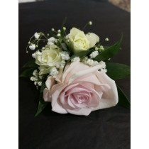 Boutonnière - Single Pink Rose w/ White Accents