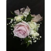 Wrist Corsage - L Pink Rose w/ White Accents