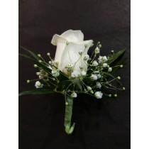 Boutonnière - Single White Rose
