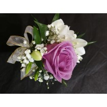 Wrist Corsage - Lav Rose w/ White Accents