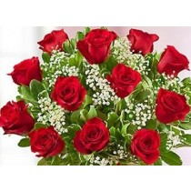 Valentine's Day LS Dozen Red Roses Hand-Tied